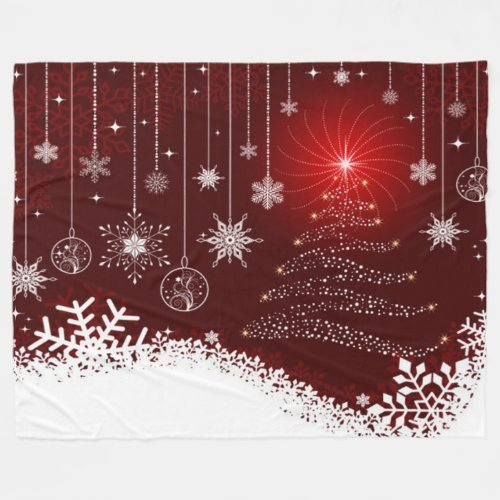 Fleece Blanket/Christmas Tree and Lights