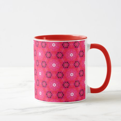 Floral Abstract Red Modern Flowers Hexagon Quilt Mug
