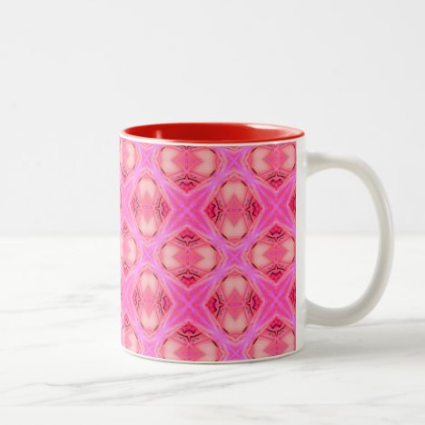 Floral Abstract Rose Modern Circle Lattice Two-Tone Coffee Mug