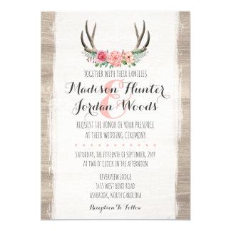 Cly Rustic Fl Frame Kraft Formal Wedding Card