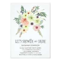 Floral Bouquet | Let's Shower the Bride | Bridal 5x7 Paper Invitation Card