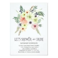 Floral Bouquet | Let's Shower the Bride | Bridal 5x7 Paper Invitation Card