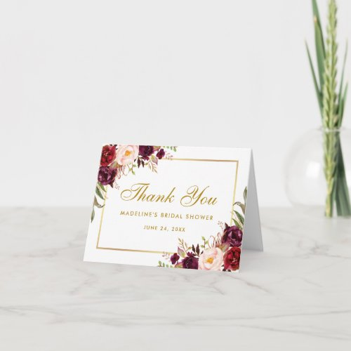 Floral Burgundy Gold Bridal Shower Thanks Note Thank You Card