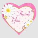Floral Daisies & Dots Pink Thank You Sticker Seal