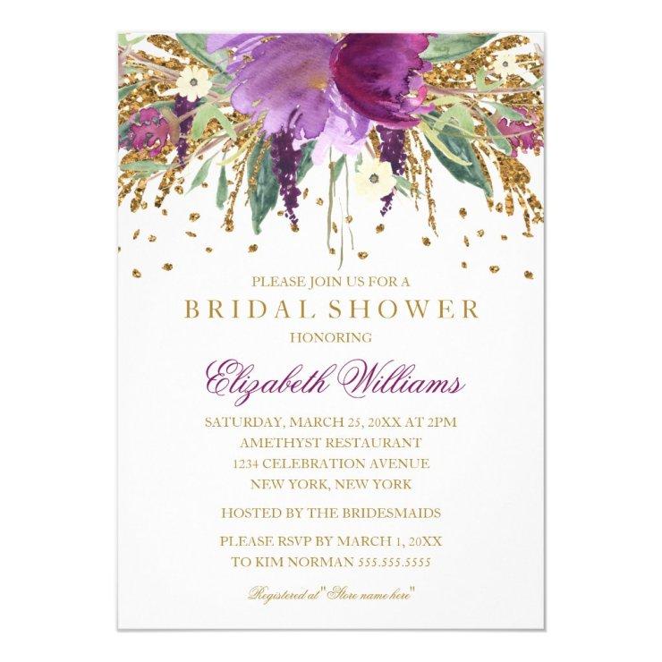 Floral Glitter Sparkling Amethyst Bridal Shower Card