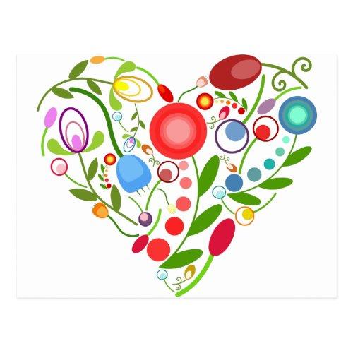 Floral heart postcard