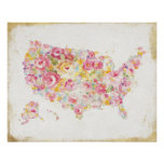 Floral Map Of The USA Poster
