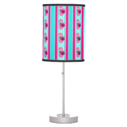 Floral Pink Teal Mix Regency Stripes Desk Lamps