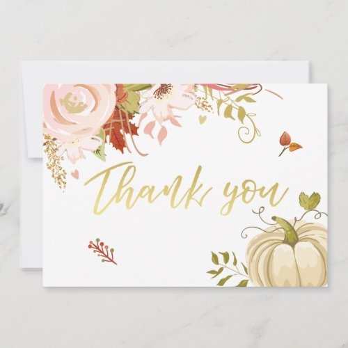 Floral Pumpkin thank you Rustic Fall Autumn Shower