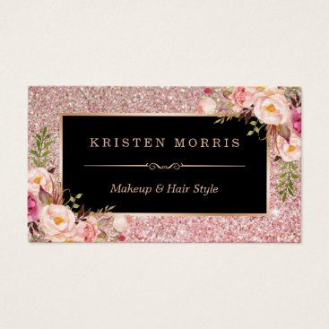 Floral Rose Gold Glitter Makeup Artist Hair Salon Business Card