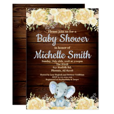 Floral Rustic Blue Boy Wood Elephant Baby Shower Invitation