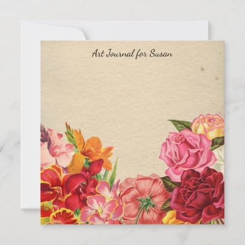 Floral Scrapbook Art Journal Valentine's Day Paper Holiday Card