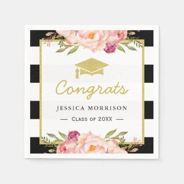 Floral Stripes Glam Congrats Grad Graduation Party Napkin