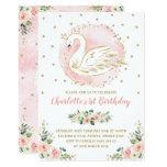 Floral Swan Princess / Peach Blush Gold Birthday Invitation