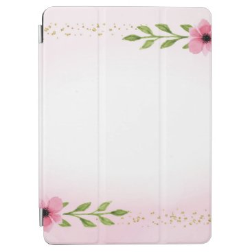 Floral Watercolor Border with gold confetti accent iPad Air Cover