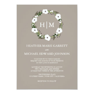 Taupe And Cream Monogrammed Wedding Invitation