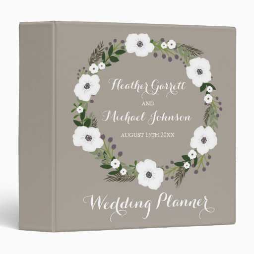 Floral Wreath Wedding Planner Binder
