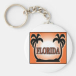 Florida Airbrushed Look Orange Sunset Palm Trees keychains