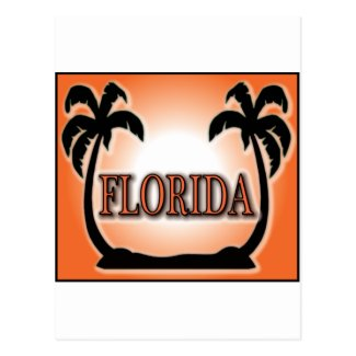 Florida Airbrushed Look Orange Sunset Palm Trees Post Card