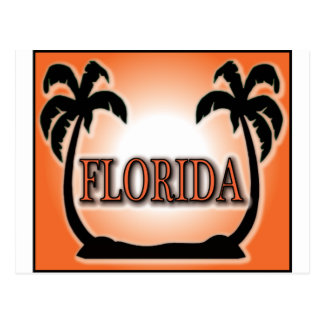 Florida Airbrushed Look Orange Sunset Palm Trees Post Cards