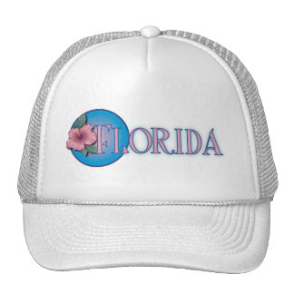 Florida Hibiscus Pink & Blue Trucker Hat