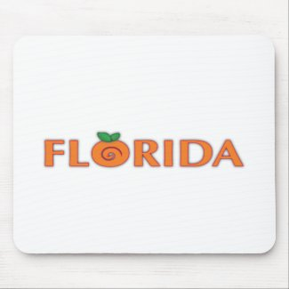 FLORIDA Orange Text Mouse Pads