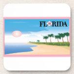 Florida Pink Hibiscus Postcard Beach Scene cork coasters