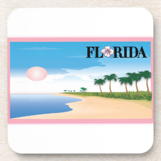 Florida Pink Hibiscus Postcard Beach Scene Drink Coasters