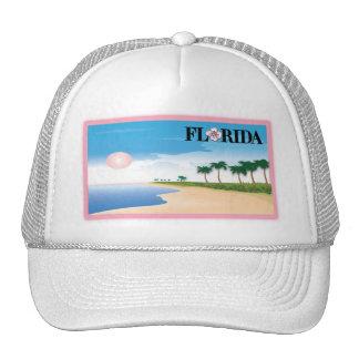 Florida Pink Hibiscus Postcard Beach Scene Trucker Hats