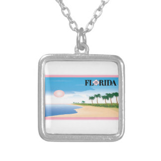 Florida Pink Hibiscus Postcard Beach Scene Necklaces