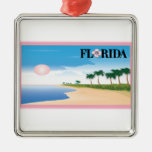 Florida Pink Hibiscus Postcard Beach Scene ornaments