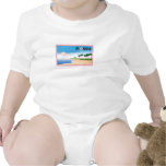 Florida Pink Hibiscus Postcard Beach Scene t-shirts