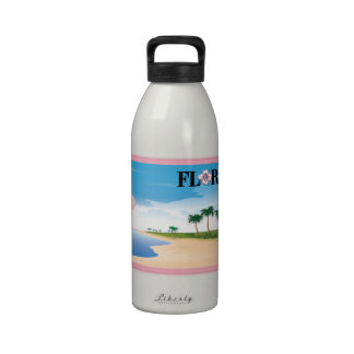 Florida Pink Hibiscus Postcard Beach Scene Drinking Bottle