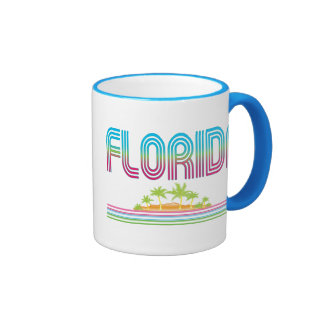 FLORIDA Retro Neon Palm Trees Coffee Mugs