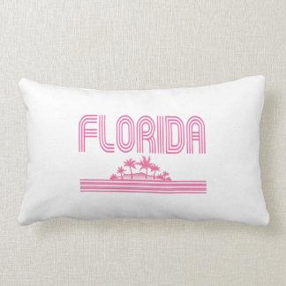 Florida Retro Neon Palm Trees Pink Throw Pillow