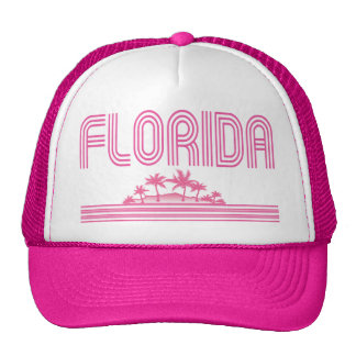 Florida Retro Neon Palm Trees Pink Trucker Hats