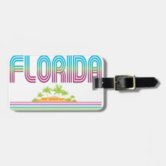 FLORIDA Retro Neon Palm Trees Tag For Bags
