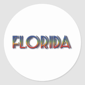 Florida Seaside - Rainbow Text Round Stickers