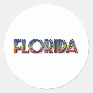 Florida Seaside - Rainbow Text Round Stickers