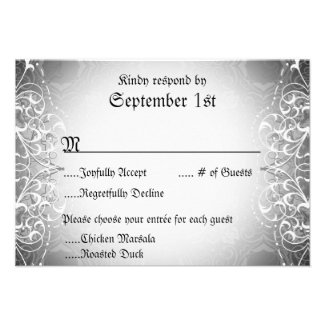 Flourish RSVP Bride & Groom Skeleton Dinner Cards