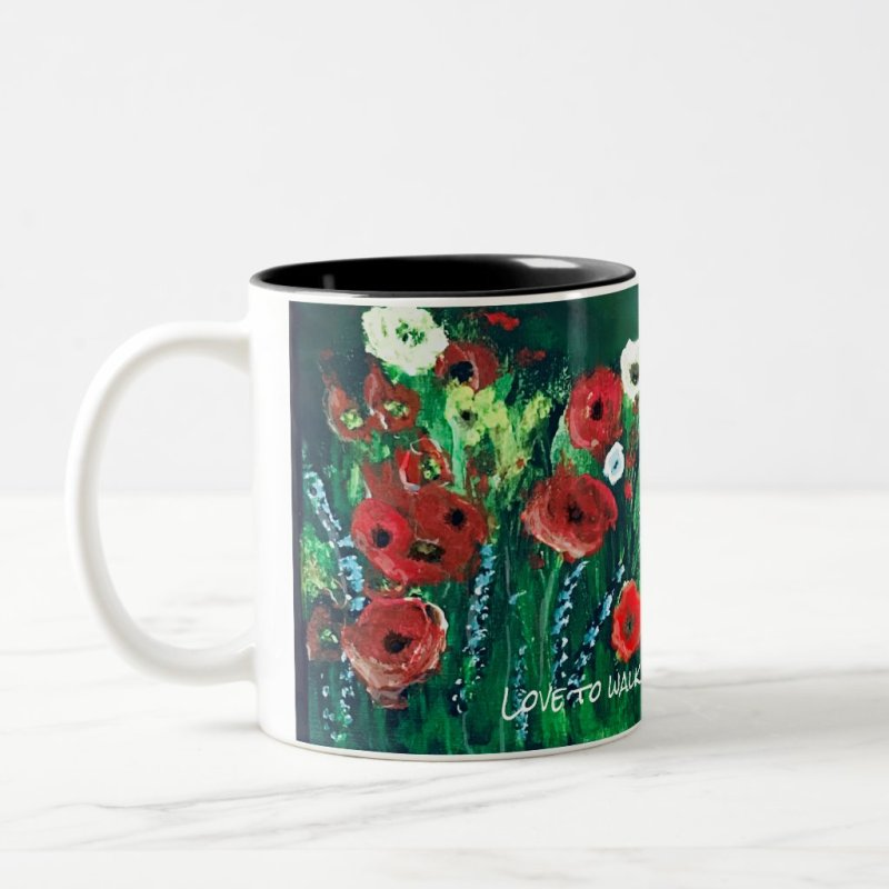 Flower Coffee Cup For Her Acrylic Painting Gift