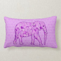Flower elephant - amethyst purple lumbar pillow
