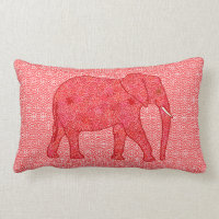 Flower elephant - deep red and coral lumbar pillow