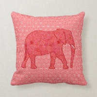Flower elephant - deep red and coral throw pillow