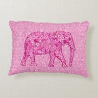 Flower elephant - fuchsia pink decorative pillow