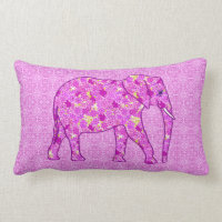 Flower elephant - orchid and magenta lumbar pillow