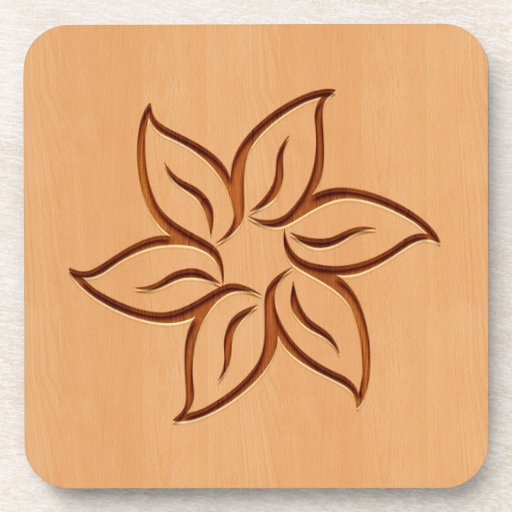 Flower engraved on wood design drink coaster