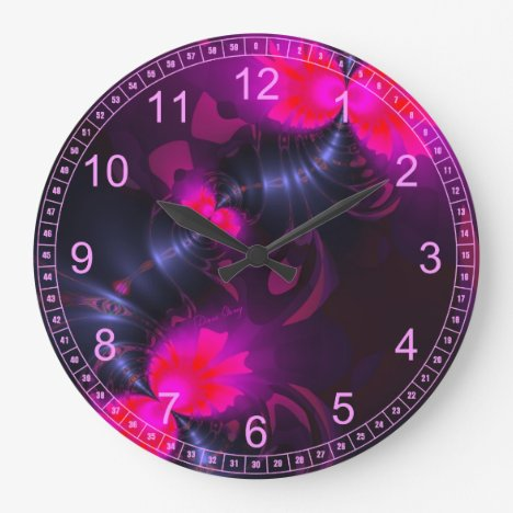 Flower Fairy – Rose and Magenta Ribbons Large Clock
