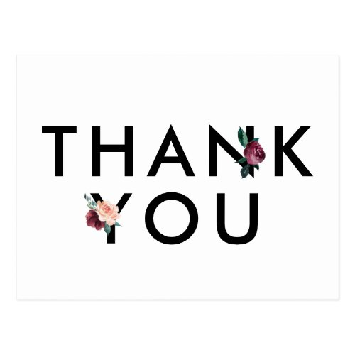 Flower Lettering | Maroon Thank You Postcard