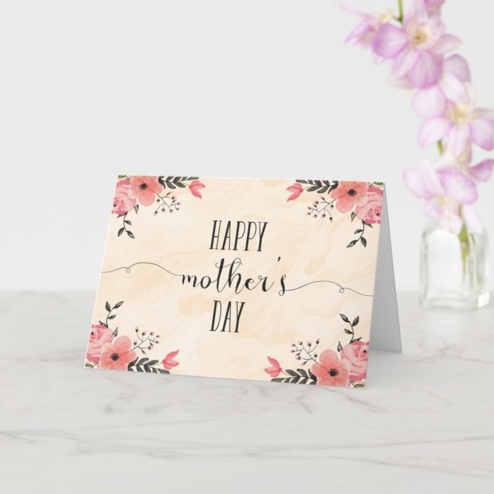 Flowers Mother's Day Card Watercolor
